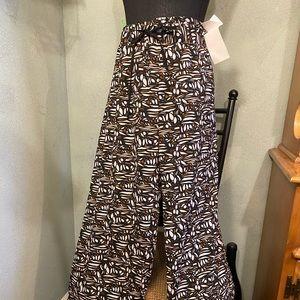 Tropical print drawstring, wide leg Pants